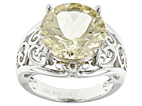 Yellow Labradorite Sterling Silver Solitaire Ring 4.75ctw
