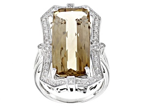 Brown Champagne Quartz Sterling Silver Ring 11.16ctw