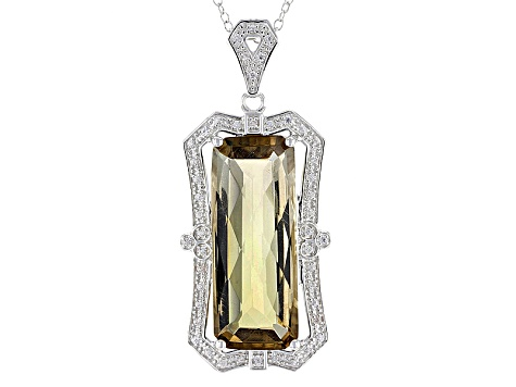 Brown Champagne Quartz Sterling Silver Pendant With Chain 11.17ctw