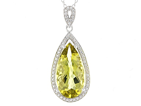 Canary Yellow Quartz Sterling Silver Pendant With Chain 7.12ctw