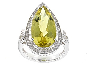 Canary Yellow Quartz Sterling Silver Ring 6.82ctw