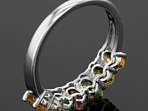 Multi-Tourmaline Sterling Silver Band Ring 1.47ctw