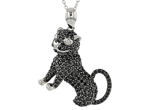 Black spinel sterling silver cat pendant with chain 332ctw psh182 black spinel sterling silver cat pendant with chain 332ctw aloadofball Images