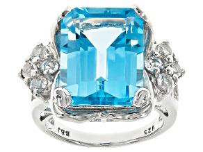 Sky Blue Topaz Sterling Silver Ring 12.04ctw