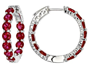 Red Ruby Sterling Silver Hoop Earrings 7.10ctw