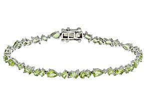 Green Peridot Sterling Silver Bracelet 9.16ctw