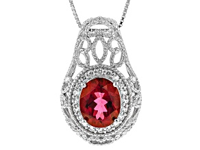 Red Peony™ Mystictopaz® Silver Pendant With Chain 4.01ctw