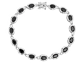 Black Spinel Rhodium Over Sterling Silver Bracelet 10.00ctw