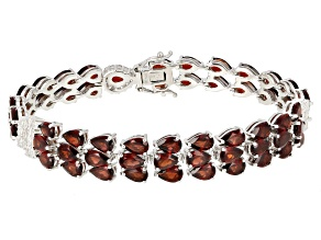 Red Garnet Rhodium Over Sterling Silver Bracelet 29.41ctw