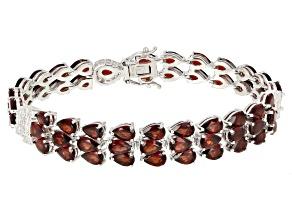 Red Garnet Sterling Silver Bracelet 29.41ctw