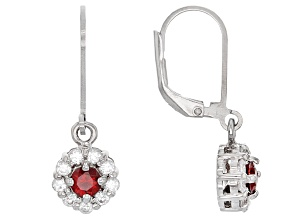 Red Garnet Sterling Silver Earrings 1.35ctw