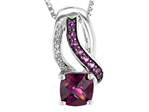 Purple Rhodolite Sterling Silver Pendant With Chain 1.00ctw