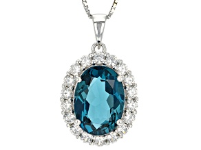 London Blue Topaz Sterling Silver Pendant With Chain 9.33ctw