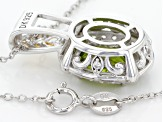 Green Peridot Two-Tone Silver Pendant With Chain 2.81ctw