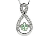 Green Dancing Tsavorite Sterling Silver Pendant With Chain .68ctw