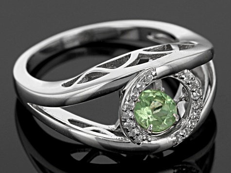 Green Dancing Tsavorite Sterling Silver Ring .58ctw