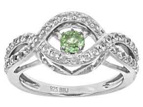 Green Dancing Tsavorite Sterling Silver Ring 1.07ctw