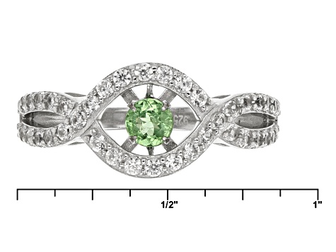 Green Dancing Tsavorite Sterling Silver Ring 1.07ctw