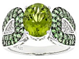 Green Peridot Sterling Silver Ring 3.16ctw