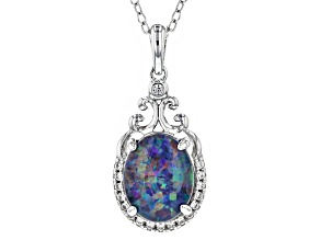Multicolor Opal Triplet Sterling Silver Pendant With Chain .09ctw