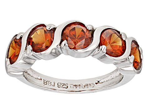Orange Spessartite Sterling Silver Band Ring 1.35ctw