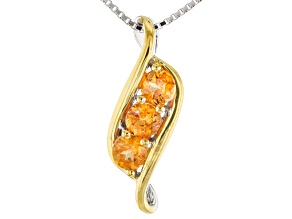 Orange Spessartite Two-Tone Sterling Silver Pendant With Chain .81ctw
