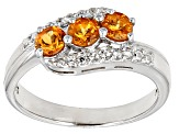 Orange Mandarin Garnet Sterling Silver 3-Stone Ring .88ctw