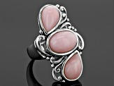 Pink Peruvian Opal Sterling Silver 3-Stone Ring