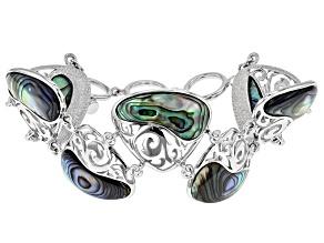 Multicolor Abalone Shell Sterling Silver Bracelet