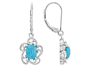 Blue Sleeping Beauty Turquoise Silver Dangle Earrings