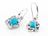 Blue Sleeping Beauty Turquoise Rhodium Over Sterling Silver Dangle Earrings