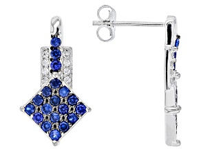 Blue Lab Created Spinel Sterling Silver Earrings .70ctw