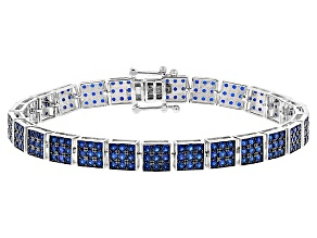 Blue Lab Created Spinel Sterling Silver Bracelet 7.95ctw