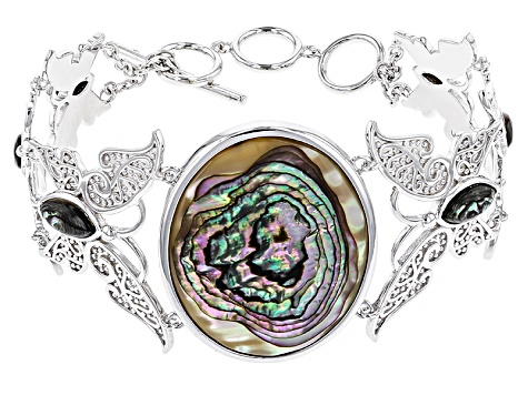 Multicolor Abalone Shell Sterling Silver Butterfly Bracelet