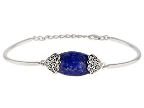 Blue Lapis Lazuli Sterling Silver Solitaire Bracelet