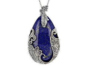 Blue Lapis Lazuli Sterling Silver Solitaire Enhancer With Chain