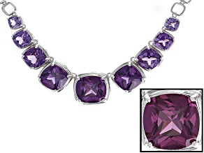 Purple Lab Created Color Change Sapphire Necklace 46.42ctw