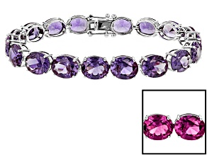 Purple Lab Created Sapphire Sterling Silver Tennis Bracelet 65.35ctw