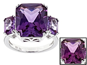 Purple Lab Created Color Change Sapphire Silver 3-Stone Ring 13.14ctw