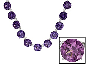 Purple Lab Created Color Change Sapphire Silver Necklace 100.00ctw