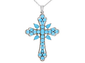 Blue Sleeping Beauty Turquoise Rhodium Over Sterling Silver Cross Pendant With Chain