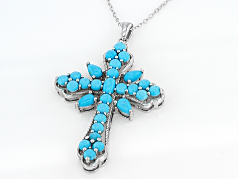 Blue Sleeping Beauty Turquoise Sterling Silver Cross Pendant With Chain