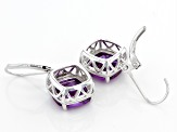 Purple Lab Created Color Change Sapphire Rhodium Over Sterling Silver Solitaire Earrings 9.73ctw