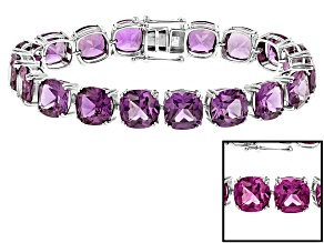 Purple Lab Created Color Change Sapphire Silver Tennis Bracelet 88.22ctw