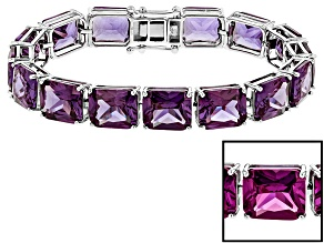 Purple Lab Created Color Change Sapphire Silver Tennis Bracelet 93.07ctw