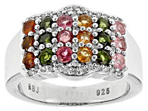 Multi-Tourmaline Sterling Silver Ring 1.35ctw