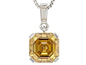 Champagne Fabulite Strontium Titanate Silver Pendant With Chain 3.46ctw