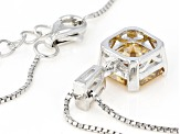 Champagne Fabulite Strontium Titanate And White Zircon Silver Pendant With Chain 3.46ctw
