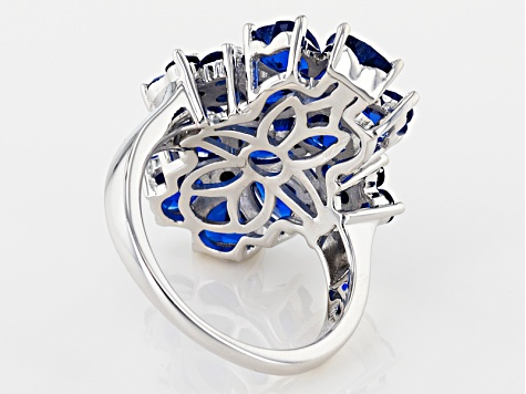 Blue Lab Created Spinel Sterling Silver Ring 4.42ctw