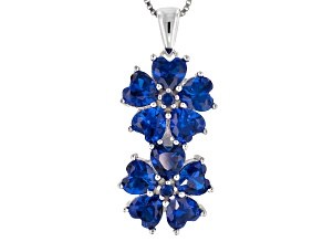 Blue Lab Created Spinel Sterling Silver Pendant With Chain 3.71ctw